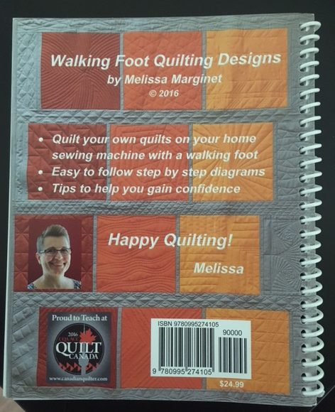 The back cover of Melissa book - a would almost call this a pocket reference book.....small to take along to Quilt Retreats; classes or the cabin but chock full of quilting design ideas!