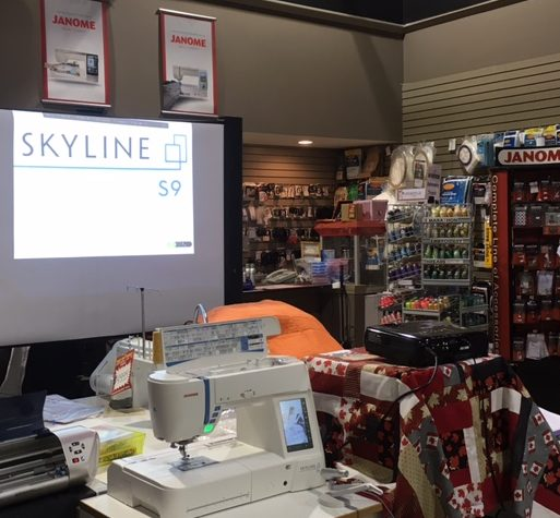 All set up and ready to roll with the camera projection at our Janome dealer in Vernon