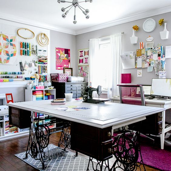 No, this is not my sewing room. This is a pic on Pinterest: Cloud9fabrics.com featuring Fabric designer Holly Degroot.