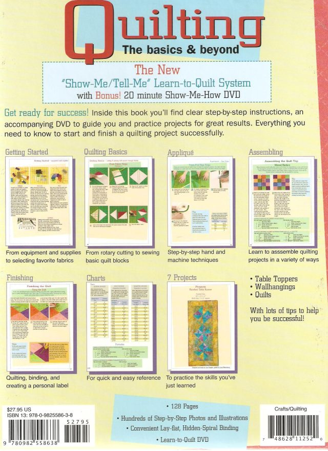 Back over of the Learn to Quilt spiral bound hard cover book - written by Jeri Simon.