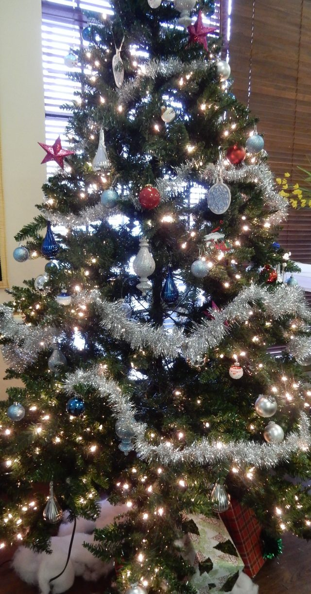 Our happy, jolly tree in the Janome office.