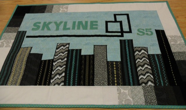 Janome Skyline series sample made by Darian at Red Deer Sewing Centre, Alberta - lots of applique here.