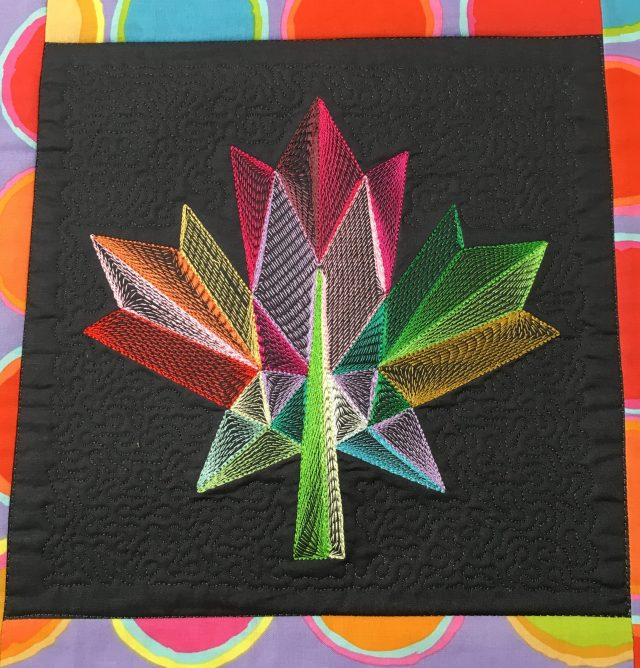 Style #2 with open weave contour fill. Liz digitized the micro stipple in Janome Digitizer MBX v for the background quilting in the hoop.
