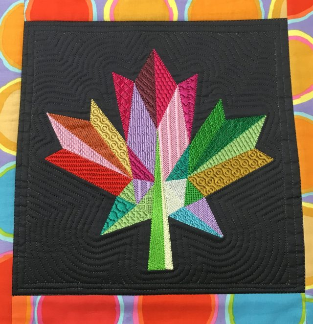 Style #3 : textured stitch fills by Yvonne with echo scroll quilting in the background digitized by Liz using Janome Digitizer MBX v5 software.