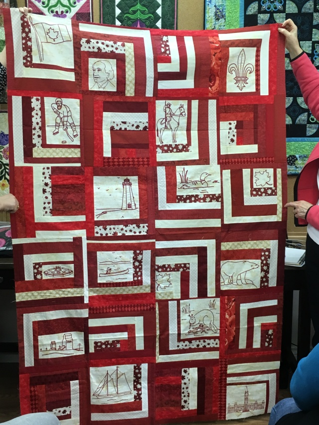 Stephanie made this: The redwork is from a pattern that she bought at the Mississippi Textile Museum in Almonte Ontario. She autodigitized it with Janome Digitizer years . ago. Great patriotic tribute to our beautiful country - specifically fr this 150th anniversary