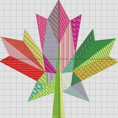 Textured Fill Stitches Leaf