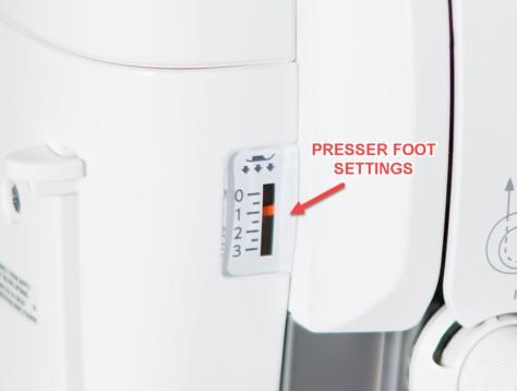 6700p presser foot settings