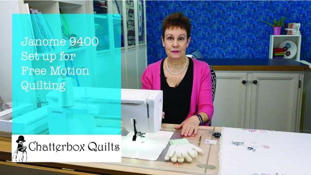Janome free motion quilting set up
