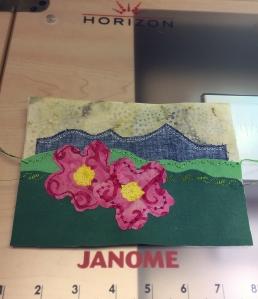 Postcard Flower 2 stitched