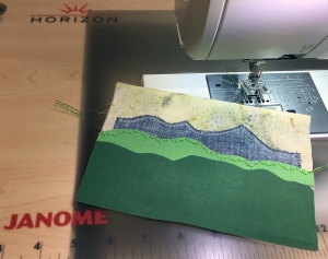 Postcard green stitched