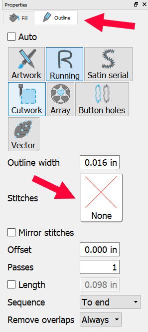 stitch properties box