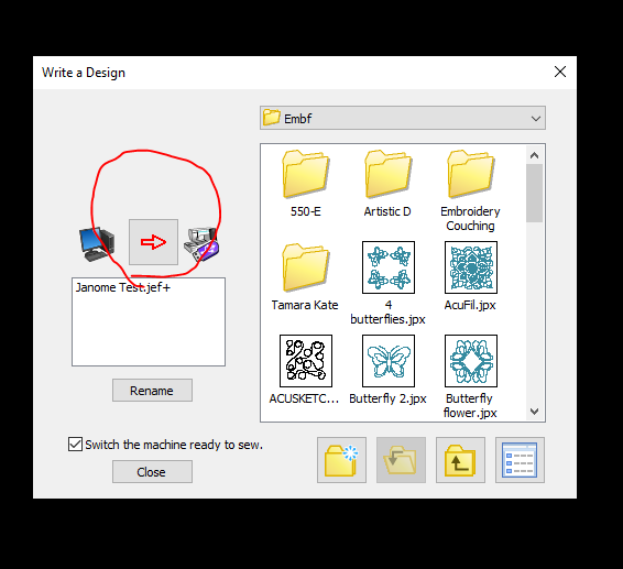 Embroidery Editor Saving a Design to USB