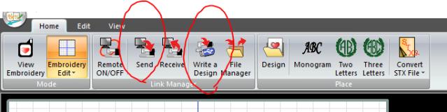Embroidery Editor Sending a Design