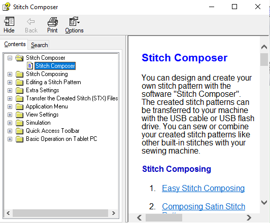 stitch composer help files