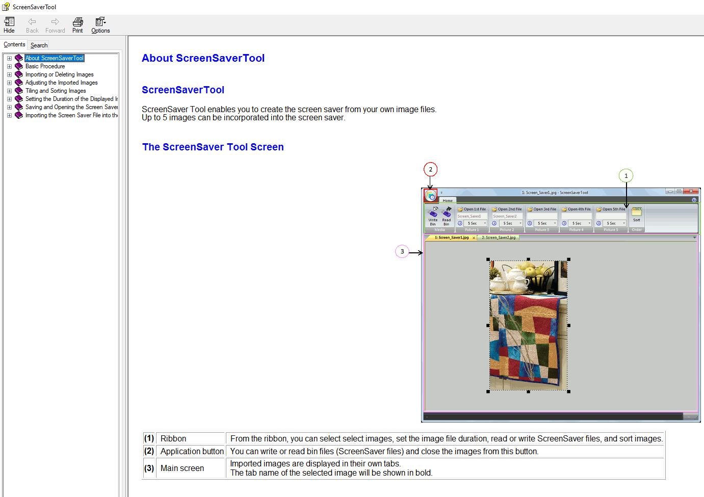 Screen Saver Help Files